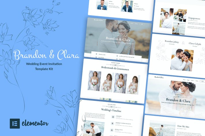 Cover Image For Brandon & Clara - Wedding Event Invitation Elementor Template Kit