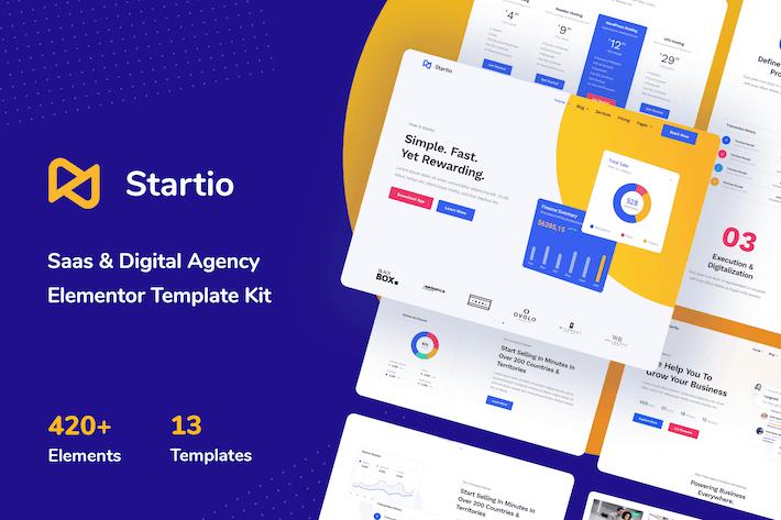 Thumbnail for Startio - Saas & Digital Agency Elementor Template Kit