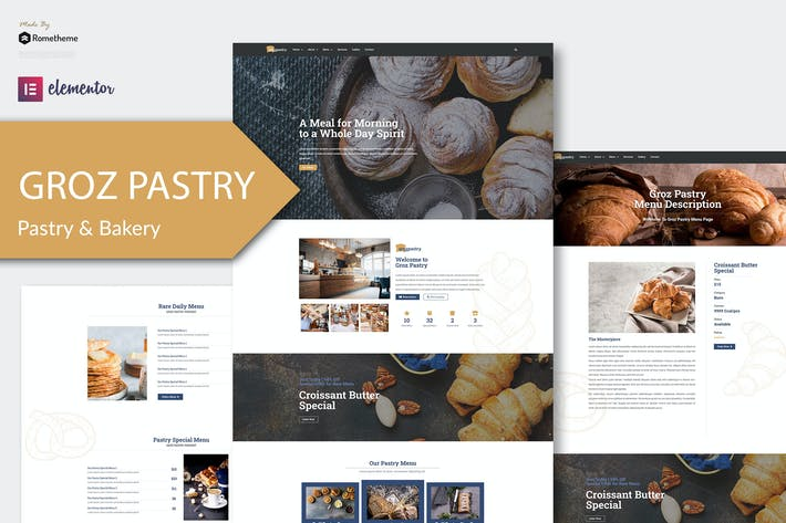 Thumbnail for GrozPastry - Bakery Elementor Template Kit