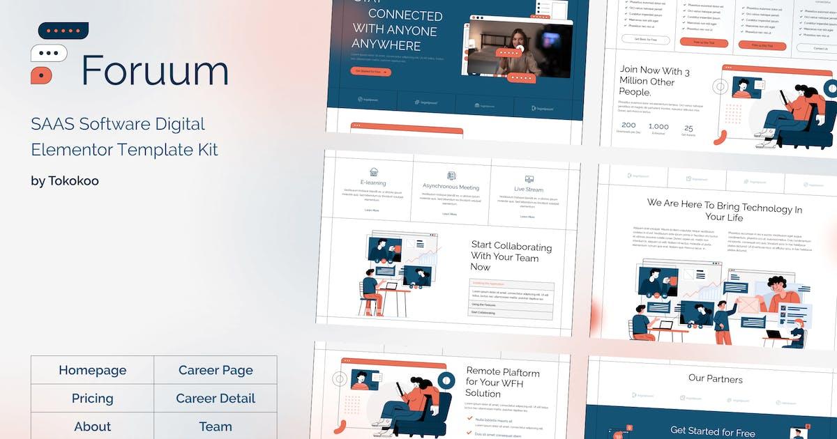 Download Foruum | SaaS & Software Startup Elementor Template Kit by Tokokoo