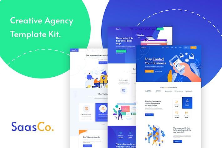 Cover Image For SassCo -  App Landing & Startup Elementor Template Kit