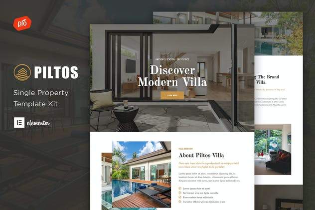 Piltos - Single Property Elementor Template Kit - product preview 0