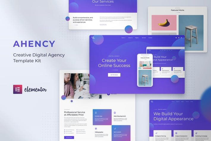 Thumbnail for AHENCY - Creative Digital Agency Elementor Template Kit