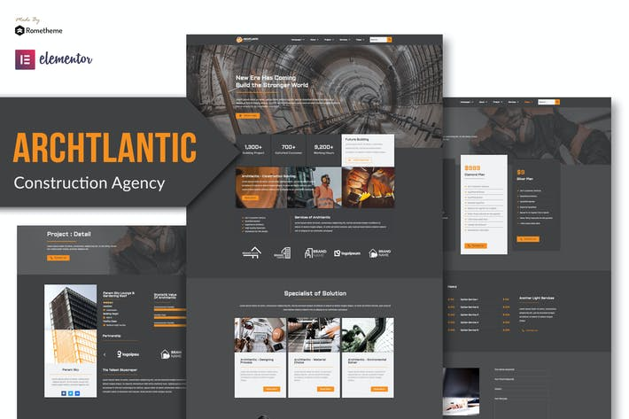 Thumbnail for Archtlantic - Construction Agency Elementor Template Kit