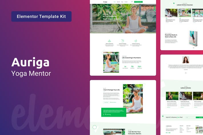 Thumbnail for Auriga — Health Coach & Yoga Mentor Elementor Template Kit