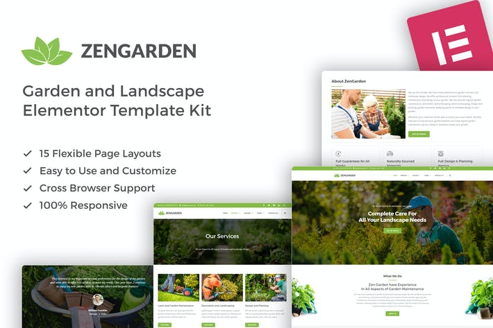 Thumbnail for ZenGarden - Garden & Landscape Elementor Template Kit