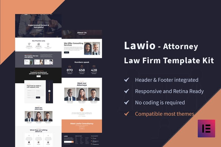 Thumbnail for Lawio - Attorney Law Firm Elementor Template Kit