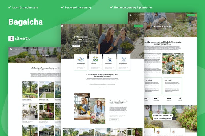 Cover Image For Bagaicha - Landscape & Gardening Elementor Template Kit