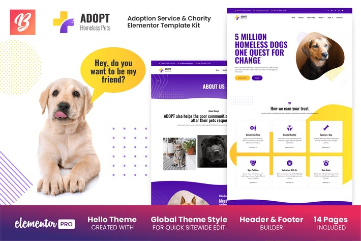 Thumbnail for Adopt - Adoption Service & Charity Elementor Template Kit