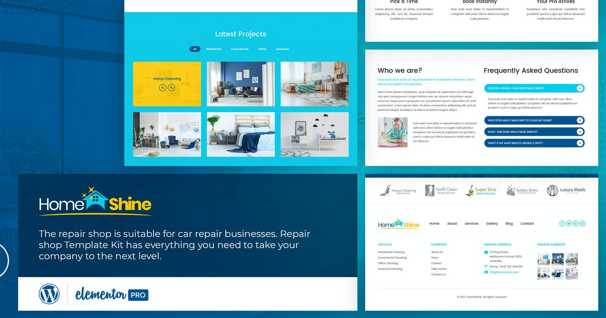 Download HomeShine - Cleaning & Laundry  Elementor Template Kit by designingmedia