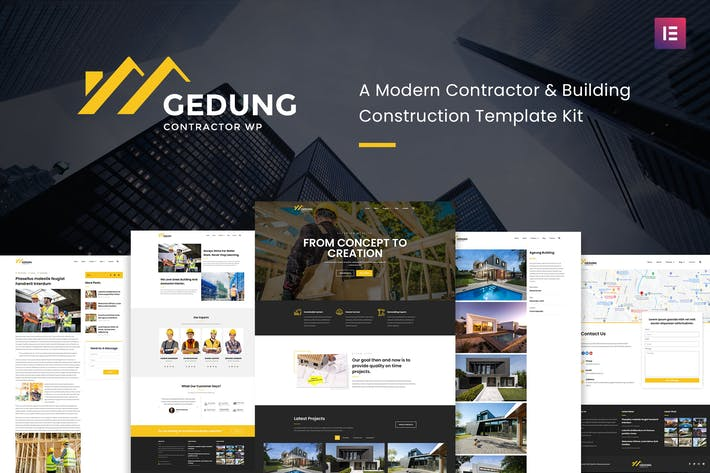 Thumbnail for Gedung- Contractor & Building Construction Elementor Template Kit