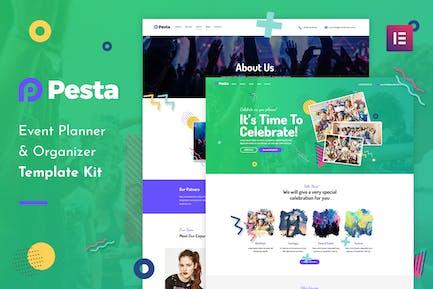 Pesta Kit - Organizador de eventos y organizador Elementor Template Kit