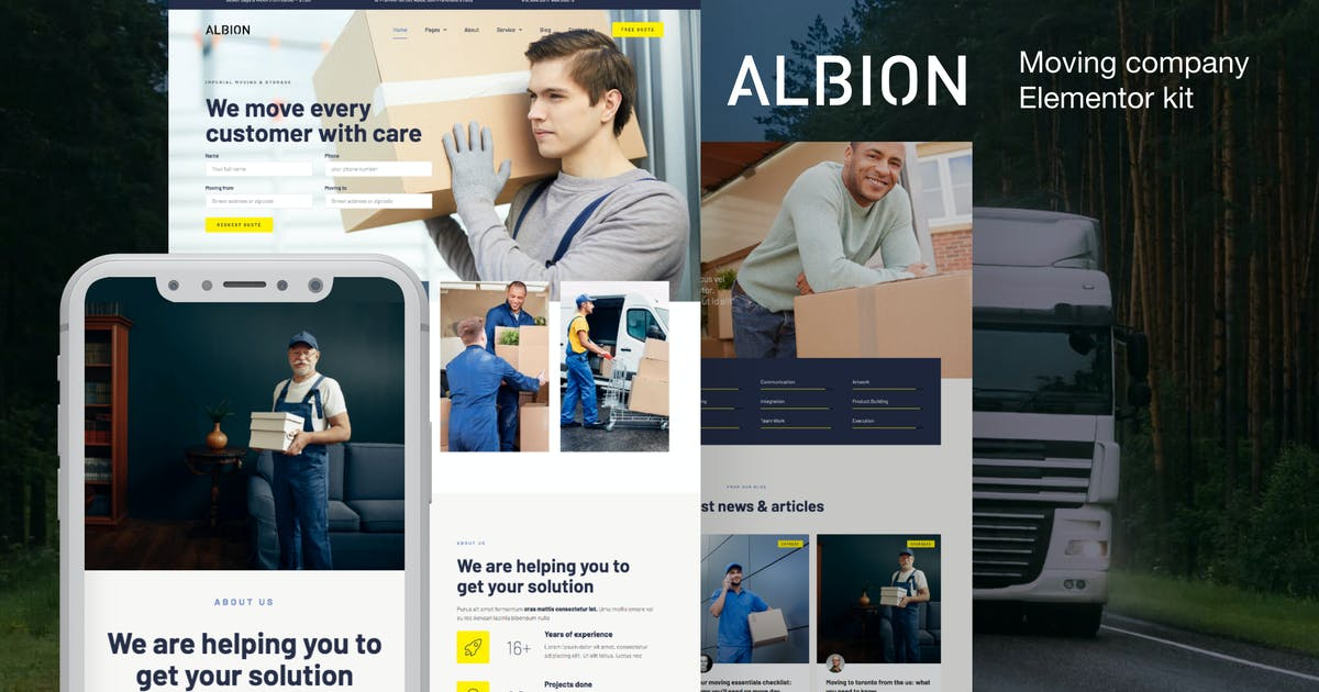 Download Albion – Moving Company Elementor Template Kit by deTheme