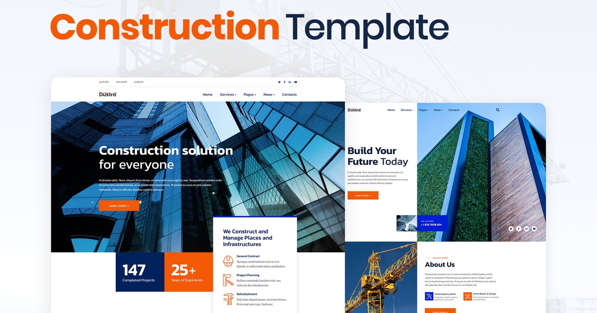 Download Dustro – Construction Company Elementor Template Kit by merkulove