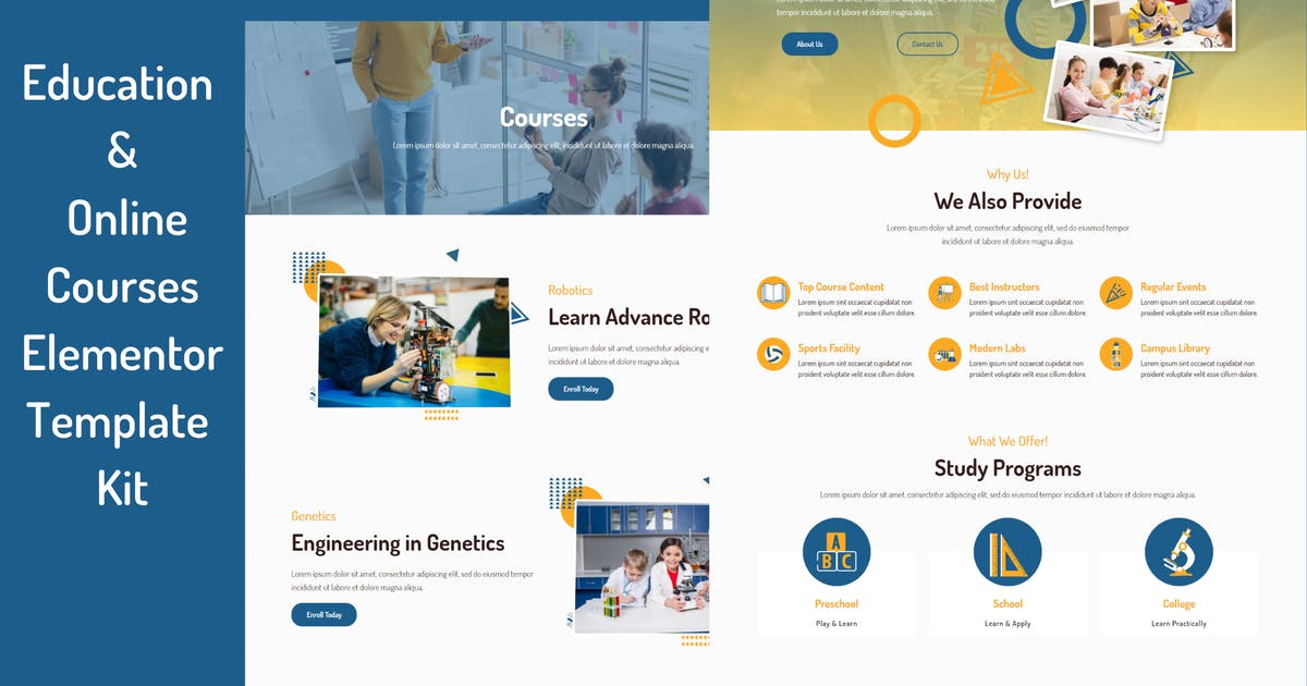 Download Schooly - Education & Online Courses Elementor Template Kit by DePautaMadre