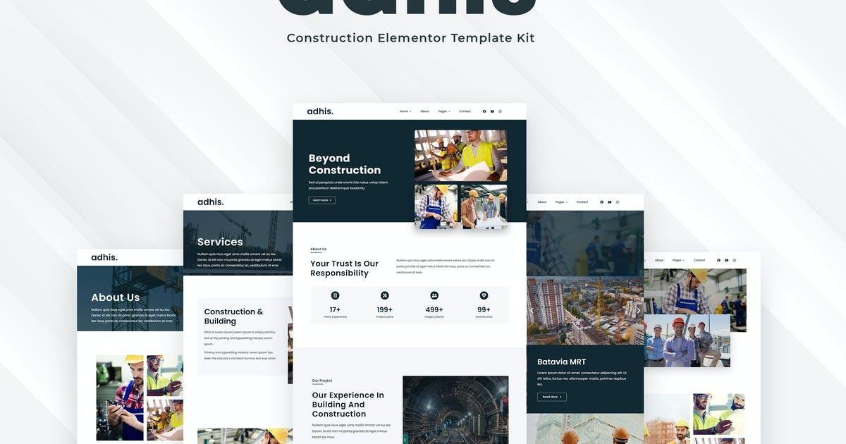 Download Adhis - Construction Elementor Template Kit by vultype