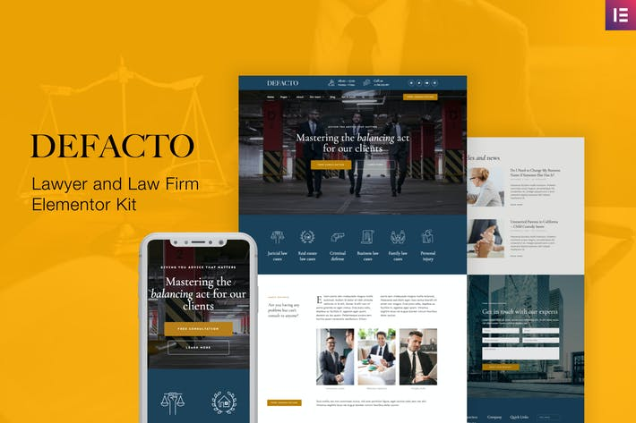 Thumbnail for Defacto – Lawyer & Law Firm Elementor Template Kit
