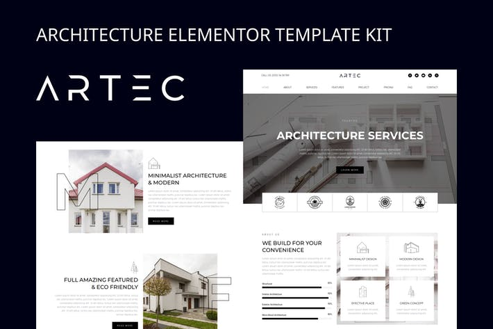 Thumbnail for Artec - Architecture Elementor Template Kit