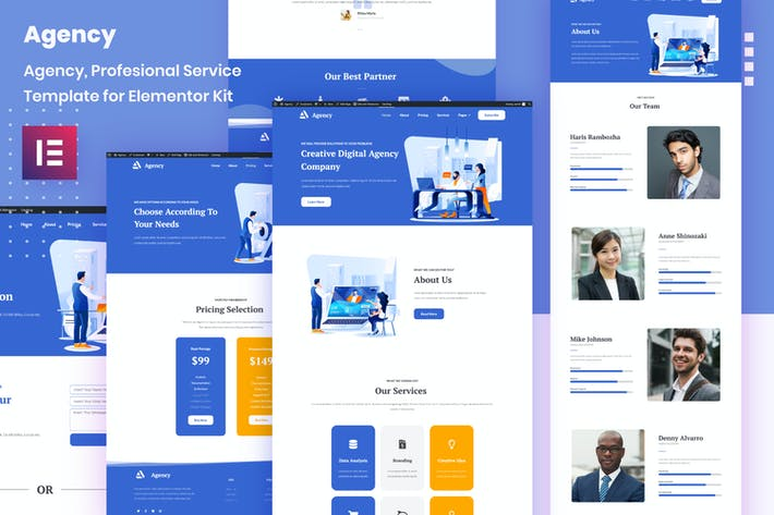 Thumbnail for Porto Agency - Creative Digital Business Elementor Template Kit