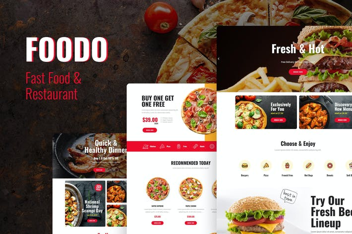 Thumbnail for Foodo - Fast Food & Pizza Elementor Vorlagen