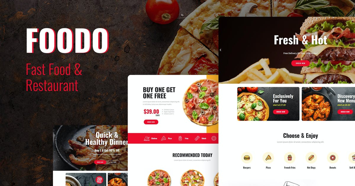 Download Foodo - Fast Food & Pizza Elementor Templates by Pixelshow