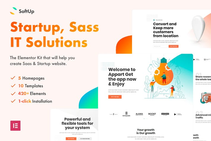 SoftUp - Saas & Startup Elementor Templates
