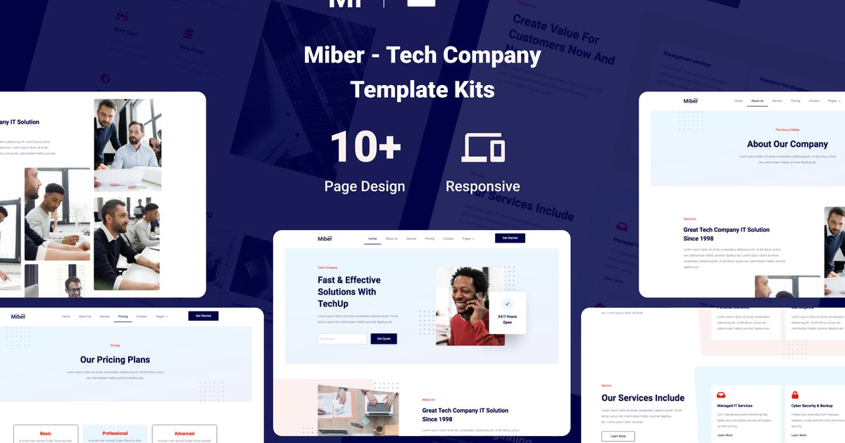 Download Miber - Tech Company Elementor Template Kit by nathatype