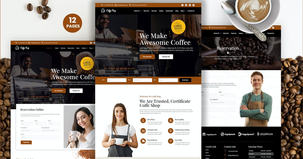 Download CoffeeKup – Cafe & Coffee Shop  Elementor Template Kit by kidsdesign