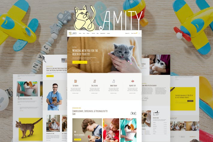 Amity – Animal Hospital & Veterinarian Template Kit