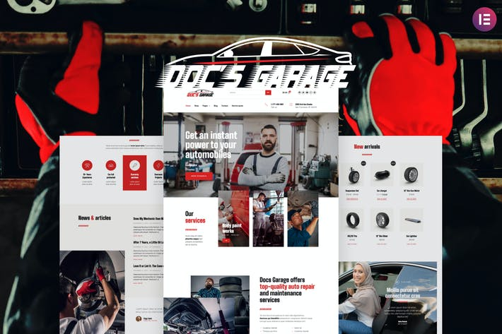 Thumbnail for Doc's Garage – Car Repair Services Elementor Template kit