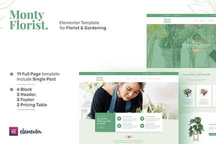 Monty Florist - Flower Boutique & Decoration Elementor Template Kit