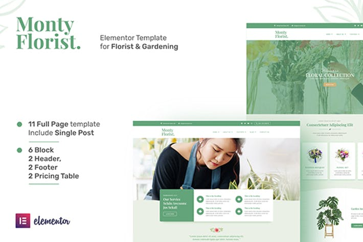Thumbnail for Monty Florist - Flower Boutique & Decoration Elementor Template Kit