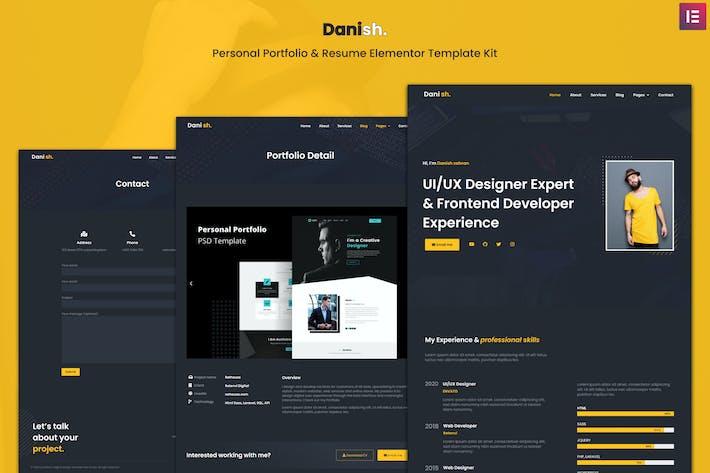 Thumbnail for Dänisch - Persönliches Portfolio & Lebenslauf Elementor Template Kit