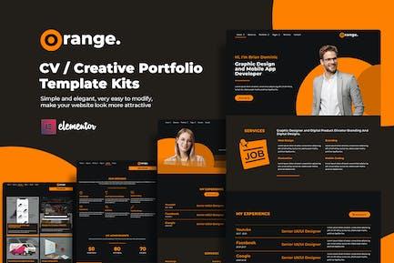 Orange CV/Creative Portfolio Elementor Template Kits