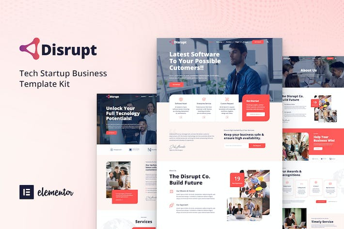 Thumbnail for Disrupt - Tech Startup Business Elementor Template Kit