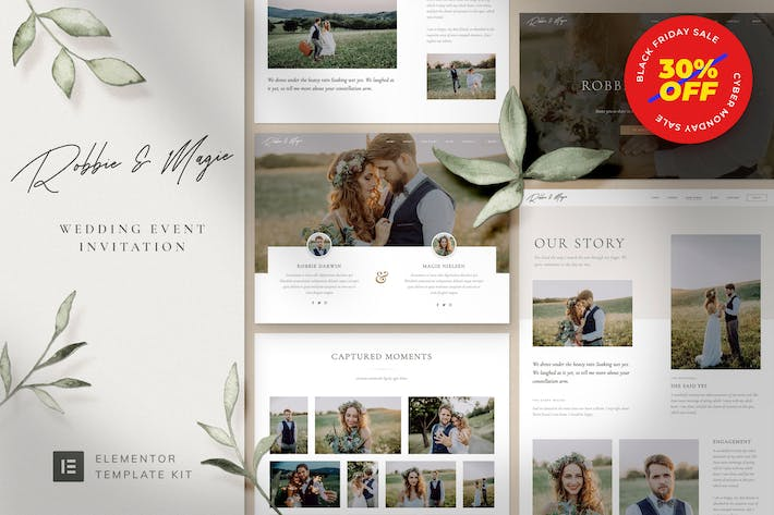 Thumbnail for Robbie & Magie – Wedding Event Invitation Elementor Template Kit