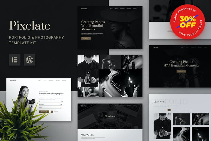 Thumbnail for Pixelate - Portfolio & Fotografie Elementor Template Kit