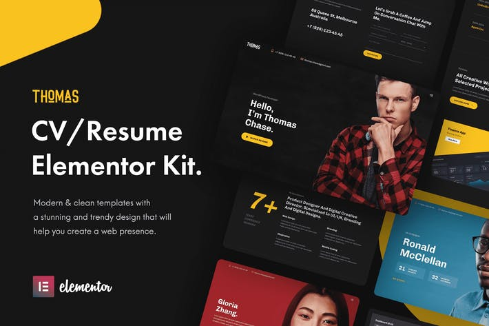 Thumbnail for Thomas - CV/Portfolio Elementor Template Kit