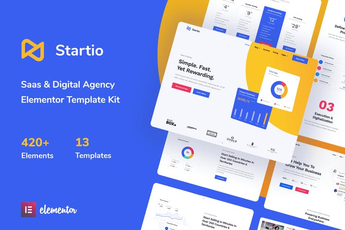Startio - Saas & Digital Agency Elementor Template Kit