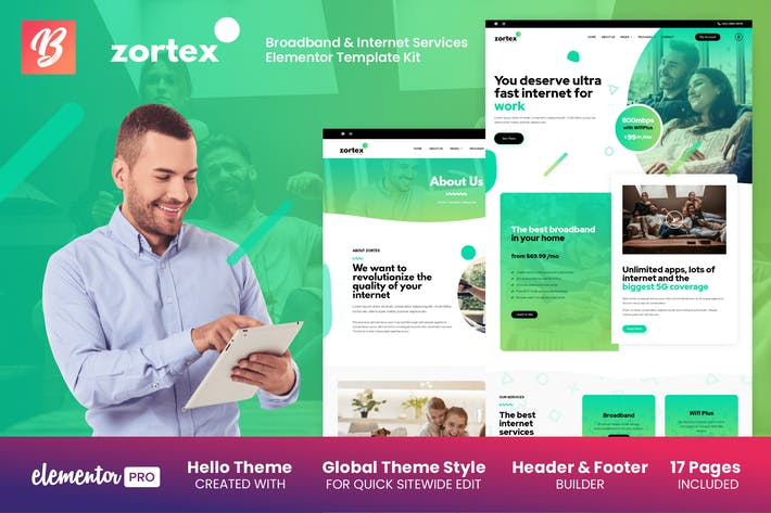 Thumbnail for Zortex - Broadband & Internet Services Elementor Template Kit