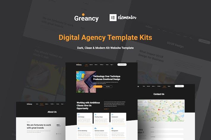 Greancy - Elektronische Unternehmensagentur Elementor Template Kit