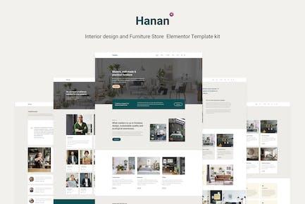 Hanan - Kit de Plantilla Elementor para tienda de muebles y diseño de interiores