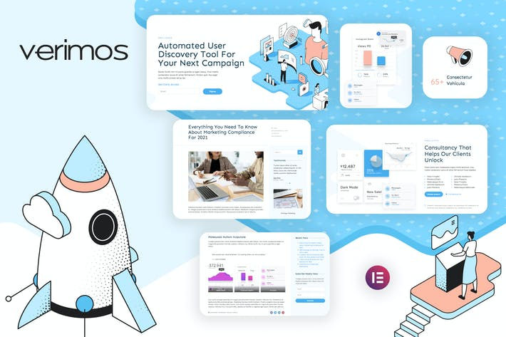 Thumbnail for Verimos – Tech Startup & Digital Company Template Kit