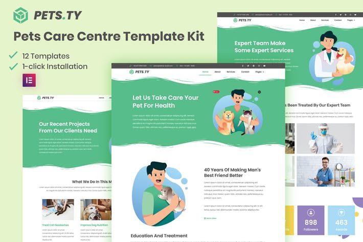 Pets.Ty - Pets Care Clinic Elementor Template Kit