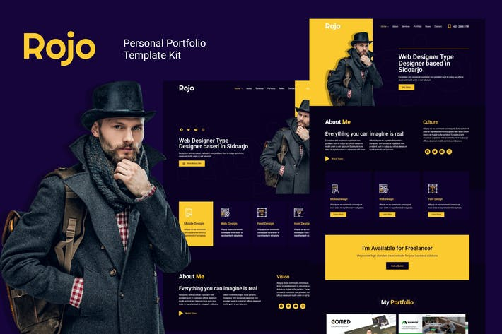 Rojo - Persönliches Portfolio Elementor Template Kit