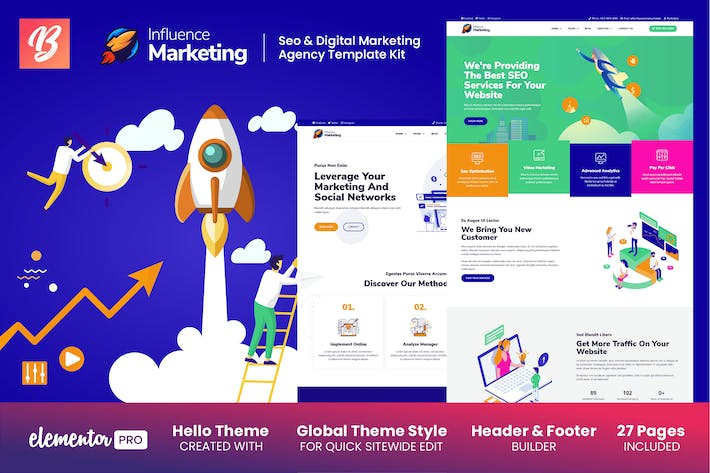 Thumbnail for Influence Marketing - SEO & Digital Agency Elementor Template Kit