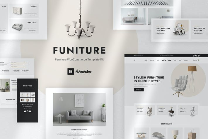Thumbnail for Funiture - Furniture Shop WooCommerce Elementor Template Kit