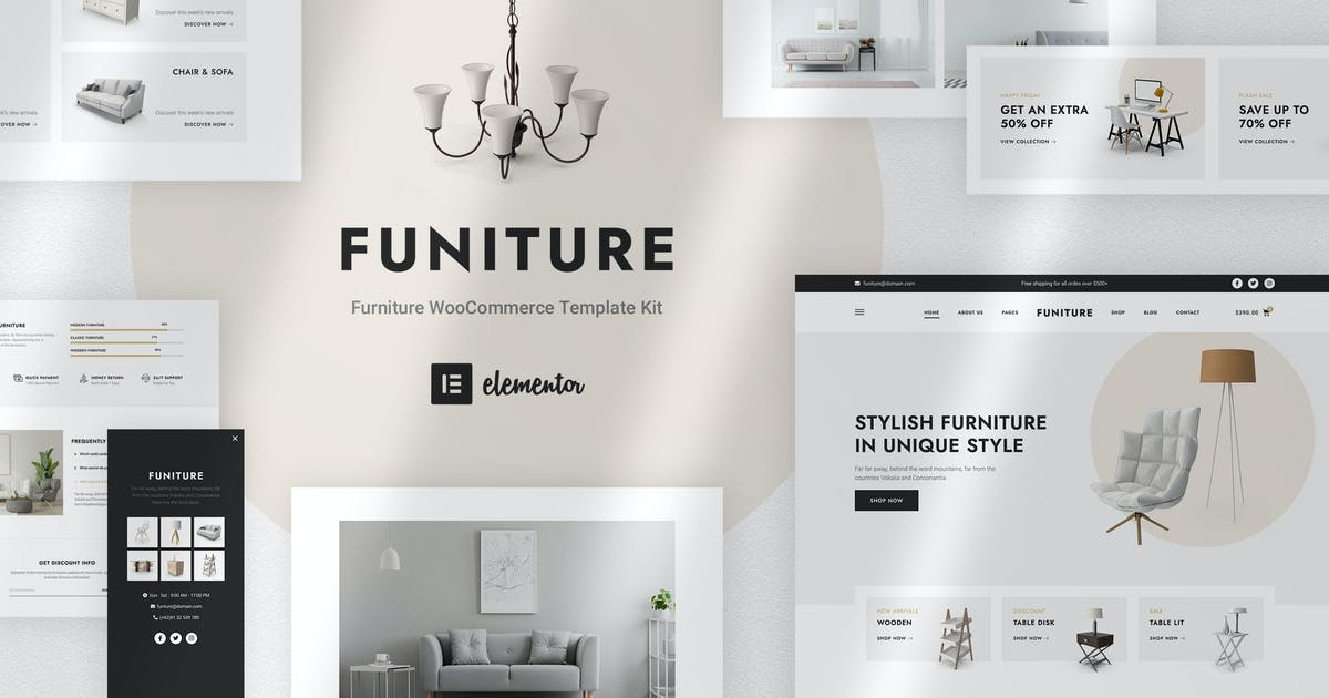 Download Funiture - Furniture Shop WooCommerce Elementor Template Kit by jegtheme