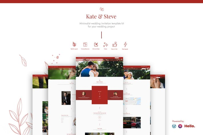 Kate & Steve - Wedding Invitation Elementor Template Kit