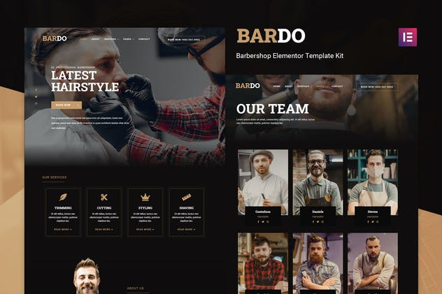 Bardo - Gentleman Barbershop Elementor Template Kit - product preview 0